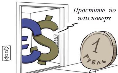 карикатура на падение рубля